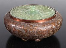 Chinese Republic Copper, Enameled & Jade Box