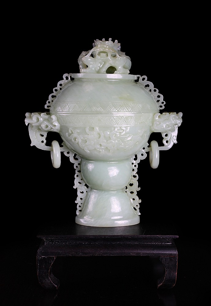 Chinese Jade Censer on Stand