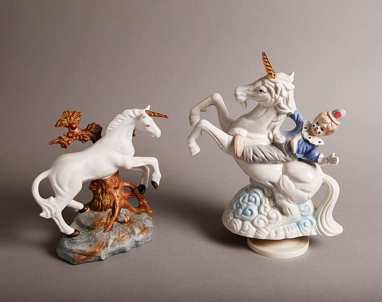 2 Porcelain Unicorn Figurines