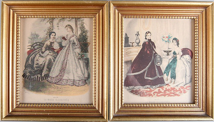 2 La Mode Illustree French Colored Engravings