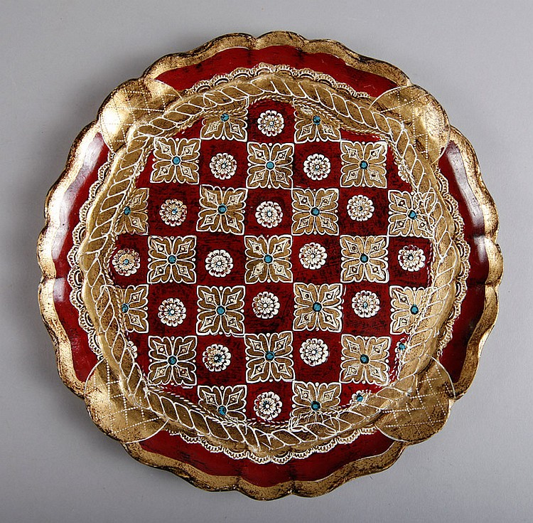 Italian Florentine Wooden Plate