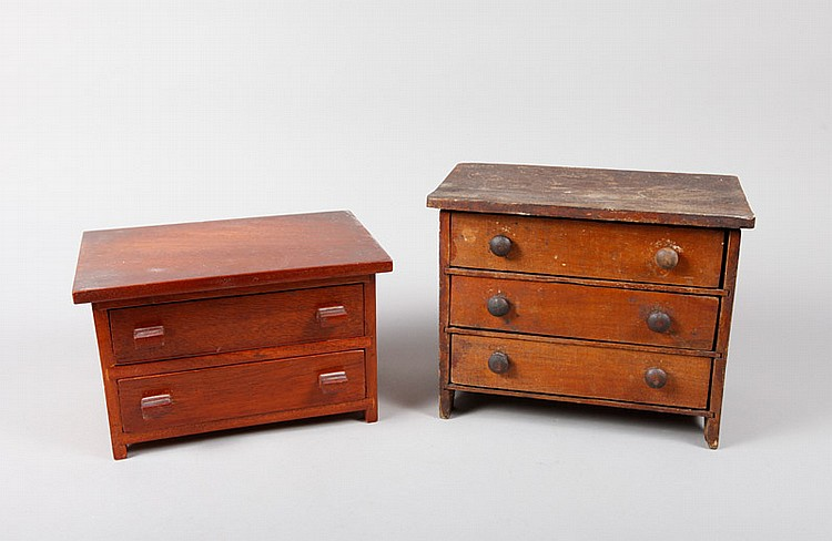 2 American Primitive Minature Chest of DrawersA