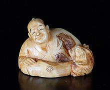 Japanese Polychromed Carved Bone Netsuke