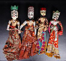 4 Vintage Indonesian Puppet Dolls