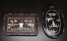 2 Asian Inlaid Mother-of-Pearl Trays