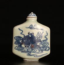 Chinese Blue & Red Porcelain Snuff Bottle