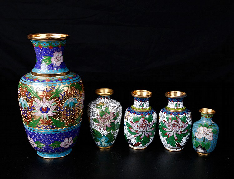 5 Chinese Cloisonne Vases