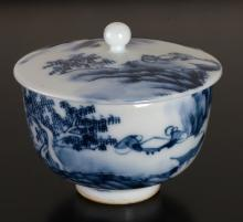 Chinese Blue & White Porcelain Lidded Cup