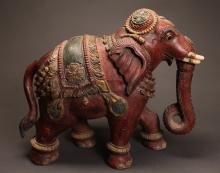 19th C. Chinese Carved Wood Temple Elephant
