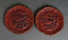 Pair of Chinese Cinnabar Style Plates