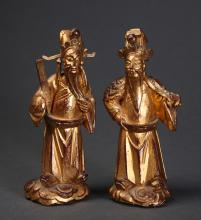 2 Chinese Carved Gilt Wood Figures