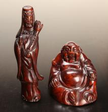 2 Chinese Carved Wood Figures