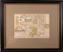 Hand Colored Framed Western European Map