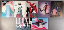 7 Art Deco Style Unframed Paintings
