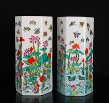 Pair of Chinese Porcelain Hexagon Hat Stands