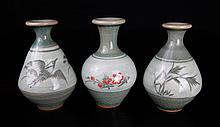 3 Korean Celadon Miniature Vases