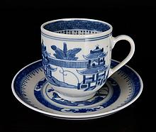 18th C. Chinese Export Canton Blue & White Teacup & Saucer