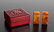 Pair of Chinese Stone Seals in Molded Box