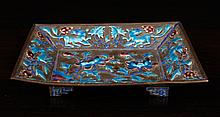 Chinese Republic Enamel/Copper Footed Dish