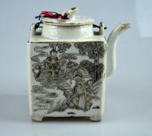 Chinese Late Qing Porcelain Square Teapot