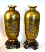Pair Chinese Fujian Lacquer Vases & Lacquer Stands