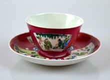 Chinese eggshell porcelain ruby Cup & Saucer