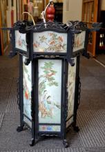 Large Chinese Reverse Painted Glass & Wood Lantern