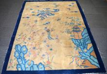Chinese Wood Carpet with Phoenix and a Pavillion