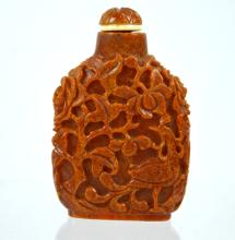 Very Flat 19th C Chinese Carved Amber Snuff