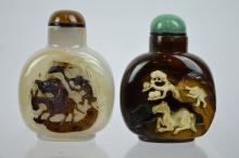 2 - Fine Chinese Cameo Agate Carved Snuff Bottles