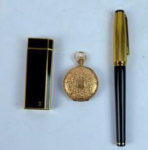 Cartier Lighter, Pen, Waltham 14K Pocket Watch