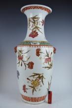 Late Qing Pink Orange Large Chinese Porcelain Vase