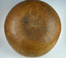 Large Peru Carved Gourd 19th Century