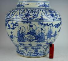 Chinese Blue & White Porcelain Large Jar