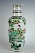 Late Qing Chinese Porcelain Famille Verte Vase