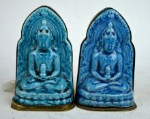 2 Antique Chinese Turquoise Glazed Pottery Buddha