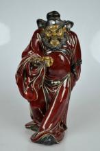 Fine Shiwan Stoneware & Flambe Zhong Kui Sculpture