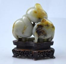 Qing Antique Chinese Carved Jade Triple Peaches