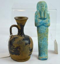 Egyptian Ushabti Figure & Greek Lekythos