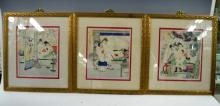 3 Chinese Erotic Portfolio Paintings