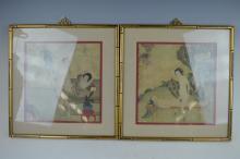 Pair of Chinese Erotic Portfolio Paintings