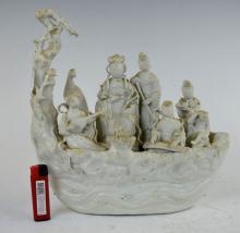 Chinese Blanc de Chine Taoist Ladies Raft
