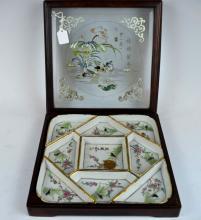 Chinese Cultural Revolution Porcelain Dish Set Box