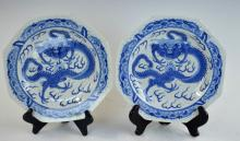 Pr. Late Qing B/W Chinese Porcelain Dragon Plates