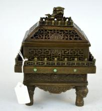 Chinese Engraved Bronze Incense Burner & Cover