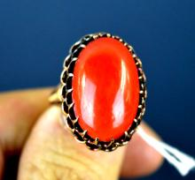 Chinese Aka Coral in 14K Gold Ring