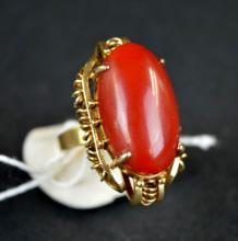 Chinese Aka Coral & Custom 14K Gold Ring