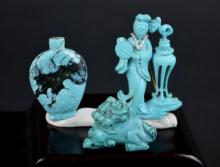 3 Miniature Pieces Chinese Carved Turquoise