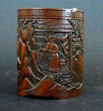 Well Carved 19th C Chinese Bamboo Brush Pot