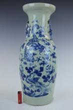 Large 19th C Chinese B & W Celadon Dragon Vase
